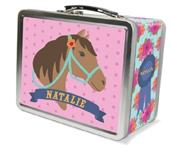 Horse Lunch Box Pink Metal Lunch Box For Girls Tiny