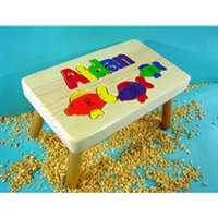 Fish Step Stool Wood Name Puzzle Stool Tiny Keepsakes