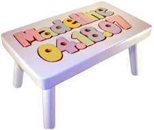 Birthday Amp Name Puzzle Stool Wooden White Kids Step Stool
