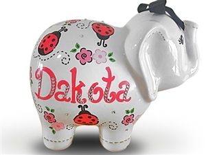 Personalized Elephant Piggy Bank Ladybug Piggy Bank