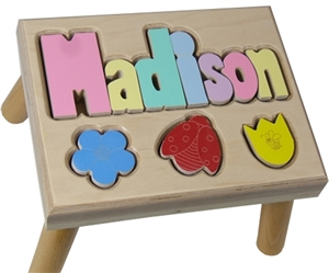 Flowers Personalized Puzzle Stool Maple Wood Name Stool