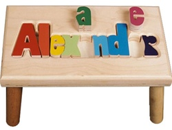 Maple Step Stool For Kids Name Puzzle Step Stool
