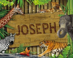 Personalized Kids Puzzle Zoo Animals Puzzle Tiny Keepsakes